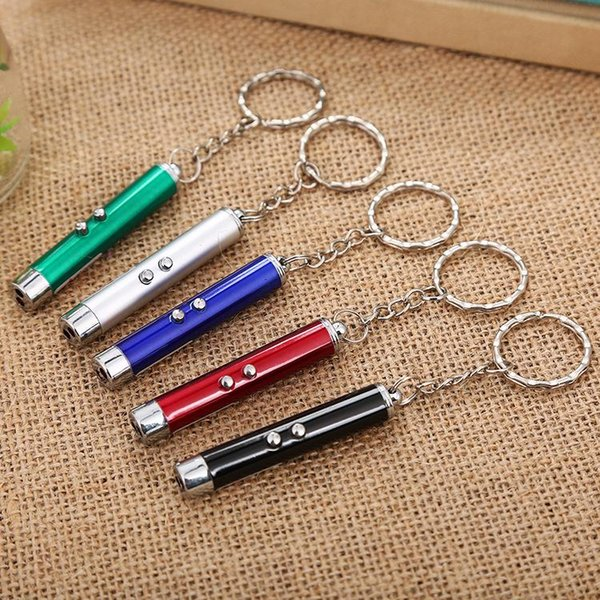Mini Cat Red Laser Pointer Pen Funny LED Light Pet Cat Toys Keychain 2 In1 Tease Cats Pen DH0185