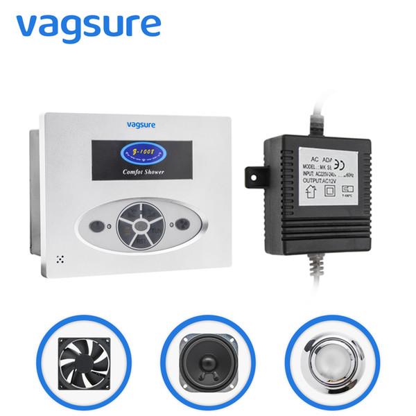 1set ( Controller+Transformer+Vent Fan+Speaker+led Light) AC 12V Square Shape Simple Computer Panel For Shower Cabin Shower Radio Controller