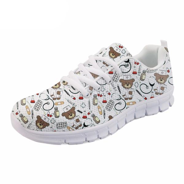 Kadın Kız Rahat Mesh Flats Ayakkabı Hemşirelik Beyaz Sevimli Karikatür Hemşire Ayı Desen Kadınlar Casual Spor ayakkabılar