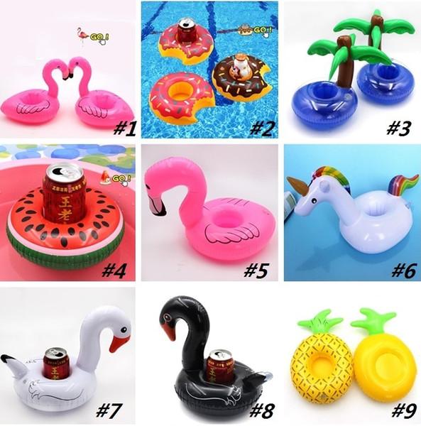 Newes Floating Toy Cartoon Flamingo Unicorn watermelon shape Cup Holder Swimming Pool inflatable toy aquatic floating row Floating Hold I307