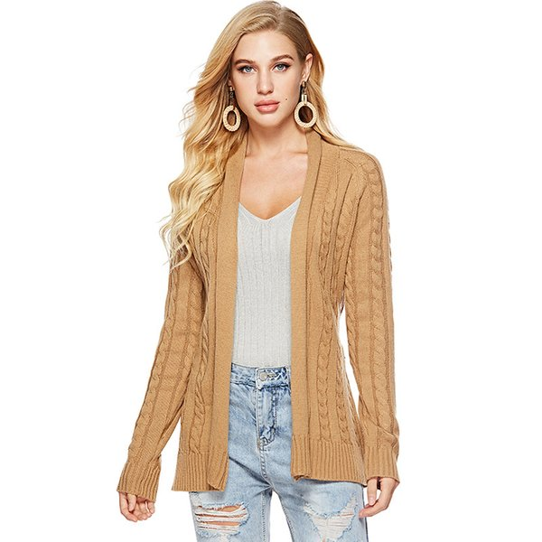 2019 Fall Winter Cable Knit Long Sleeve Lace Up Cardigan For Women Elegant  Ladies Knitted Middle Long Sweater Coat Oversized S XL From Harrvey, $51.0