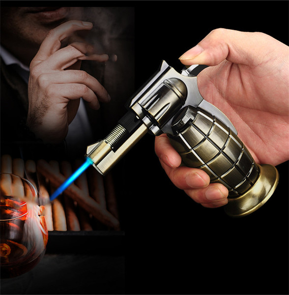 Pistola a spruzzo Granata Forma Accendino a gas butano Torcia a fiamma jet antivento Torcia in metallo ricaricabile per sigarette con sigaretta Accessori in stock