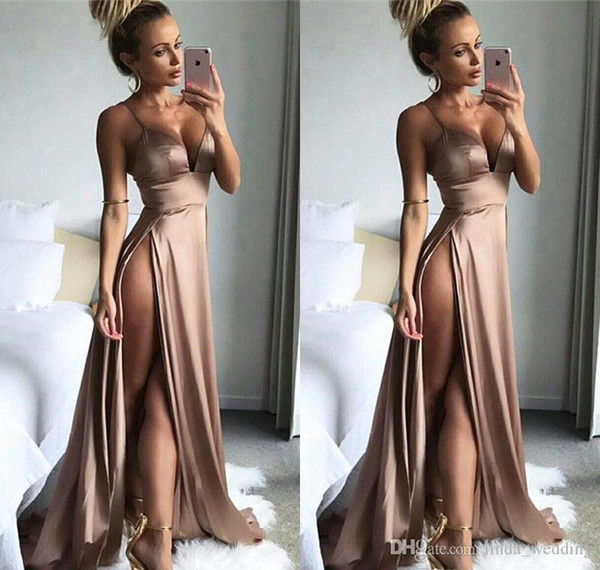 2019 High Split Prom Dress New Spaghetti Straps Sleeveless Long Formal Holidays Wear Graduation Evening Party Gown Custom Made Plus Size