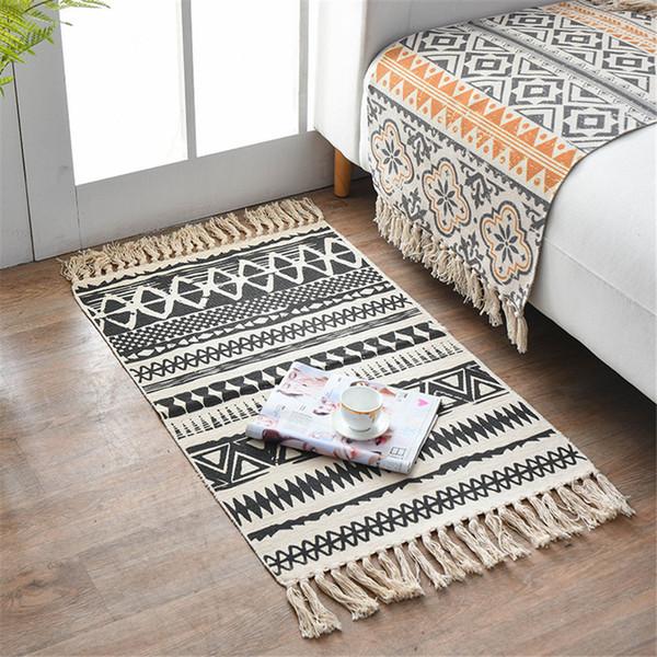 Tassel Knitted Turkish Carpet For Living Room Kilim Cotton Rug