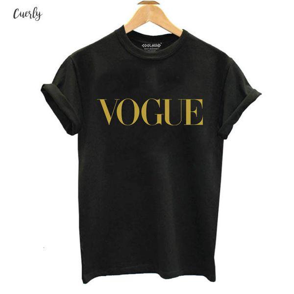 Casual 100% Algodão Vogue camisas T da letra do impresso respirável T-shirt das mulheres Camiseta O Neck Mulheres Tops