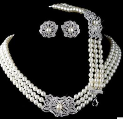 chaming crystal diamond pearl wedding bride party set lady's necklace earings 23.4cd