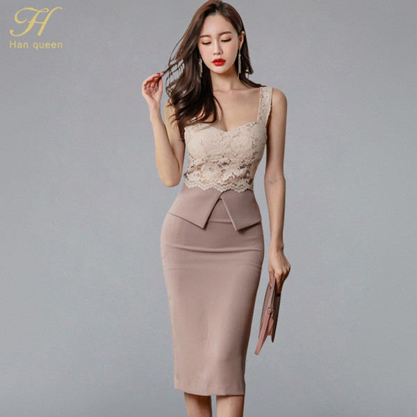 H Han Queen Halter Strapless Summer Ol Lace Pencil Dress 2018 New Fashion Sexy V Collar Sleeveless Vintage Club Party Dresses Y19050905