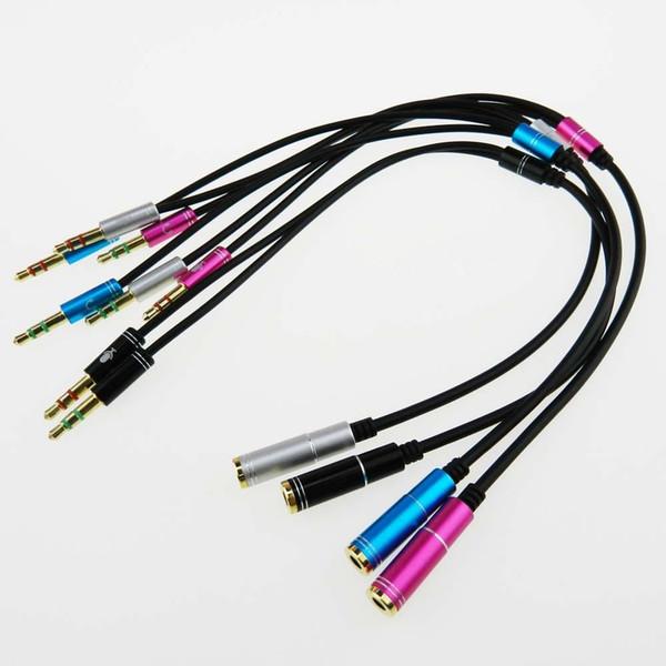3.5 MM AUX Jack 1 femmina a 2 maschio (cuffia + microfono) Y Splitter cavo audio per auricolare per PC portatile