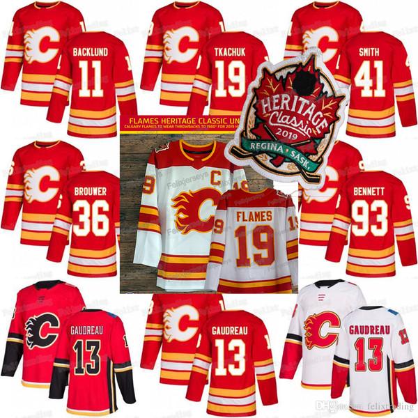 2019 Heritage Classic Sean Monahan Flames Johnny Gaudreau James Neal Matthew Tkachuk Sam Bennett Troy Brouwer Mikael Camisetas de hockey Backlund