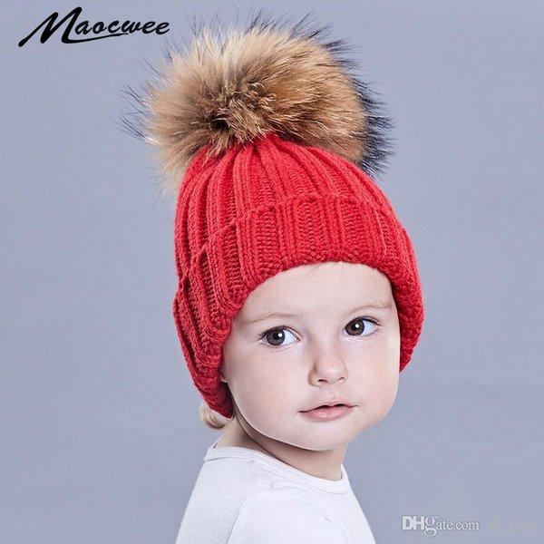 Enfants bébé Cap Bonnets tricotés Chapeaux skullies PomPon Chapeau Blanc Automne Hiver Chaud Pure Color Généreux Concise Haute Qualité