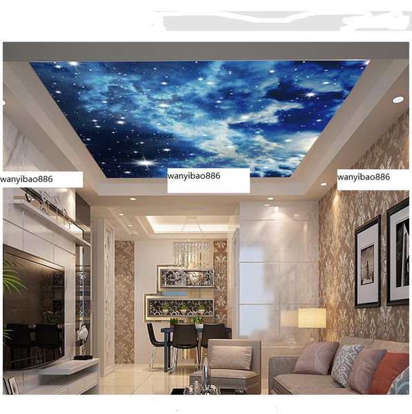 Seamless Mural Custom Large Wallpaper Sky Ceiling At Night Main Picture Hotel Living Room Bedroom Background Wall Cloth Removable Wall Art Removable