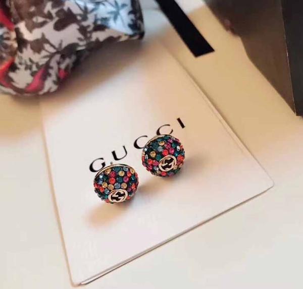 Hot vente diamant de luxe d'oreilles avec boucles d'oreilles de marque de diamants colorés de mode en aiguille d'argent S925 avec la boîte PS6795A