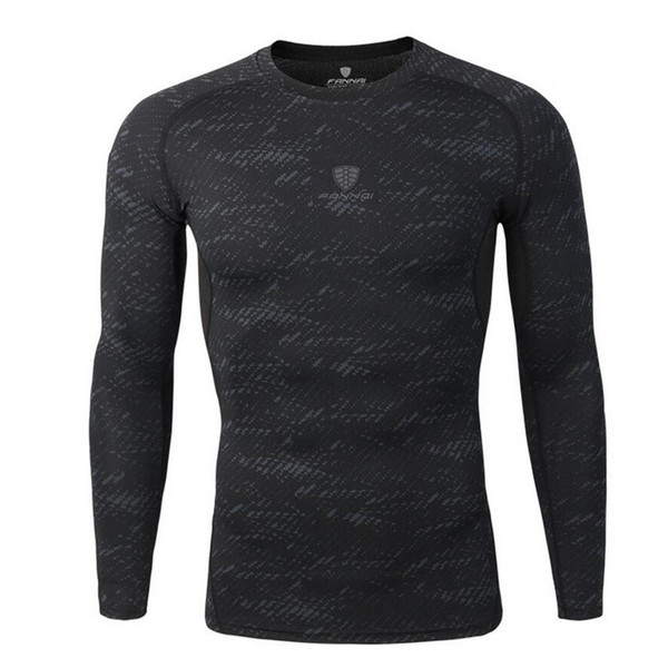 2019 Hombres de manga larga Tee Tops Ropa Skin Tight Shirts Compression Bodybuilding T-shirt Quick Dry Gym Fitness Running Jogging