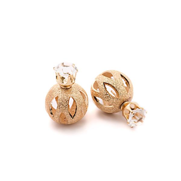 Arbeiten Sie neuen Luxusglanzzircon-Kürbisformhohlohrringe double-faced bereiften Perlenkronen-Ohrringgroßverkauf für freies Verschiffen um