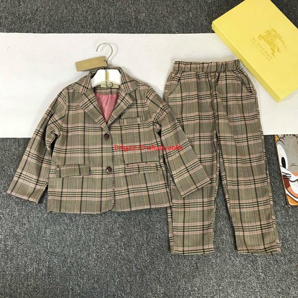 NewGirls takımları setleri çocuklar tasarımcı giyim yaka ceket + pantolon 2 adet sonbahar polyester kumaş astar buz ipek pamuk setleri