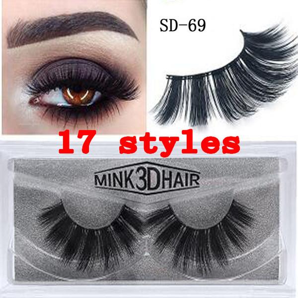 3D Mink Eyelashes Eye lash Extension Sexy False Eyelashes Natural Thick Fake Eye lashes Full Strip Mink Eye Lashes Beauty Tools 17style
