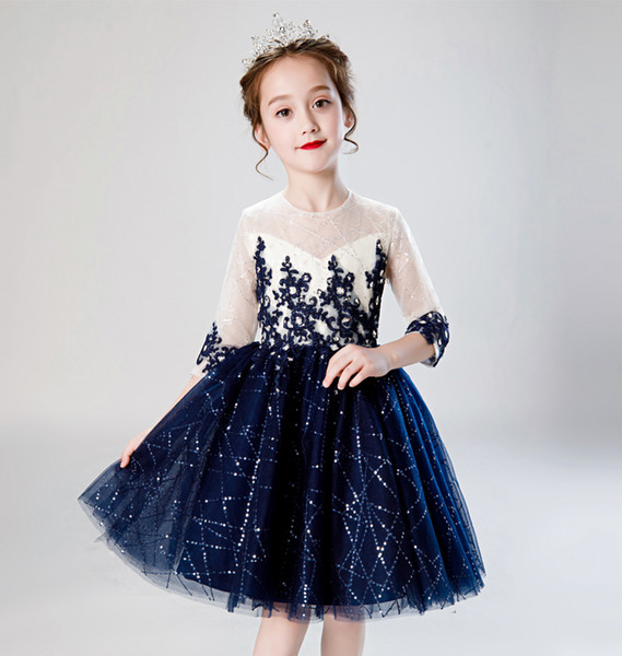 undefeated x shopping lowest discount Pretty Blue/Ivory Sleeves Applique Girl'S Pageant Dresses Flower Girl  Dresses Princess Party Dresses Child Skirt Custom Made 2 14 H317500 Tween  ...