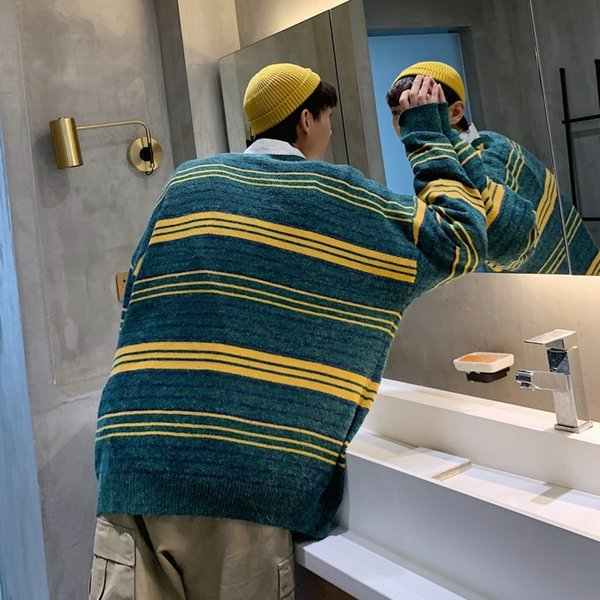 2019 autumn and winter new youth male base stripe contrast color sweater fashion casual loose pullover yellow green / blue thumbnail