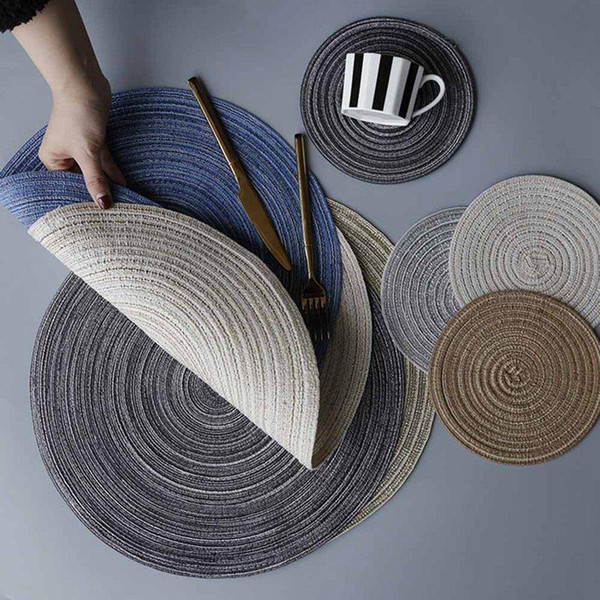 Round Design Table Ramie Insulation Pad Solid Placemats Linen Non Slip Table Mat Kitchen Accessories Decoration Home Pad