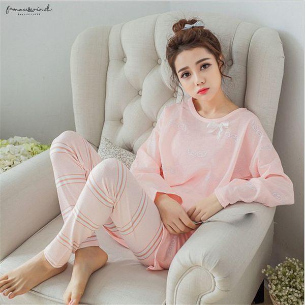 Pijamas conjuntos de trajes de manga larga pijamas de las mujeres pijamas de dibujos animados Establece Summer Wear Inicio Trajes Pantalones cortos Hombres chándal pijamas