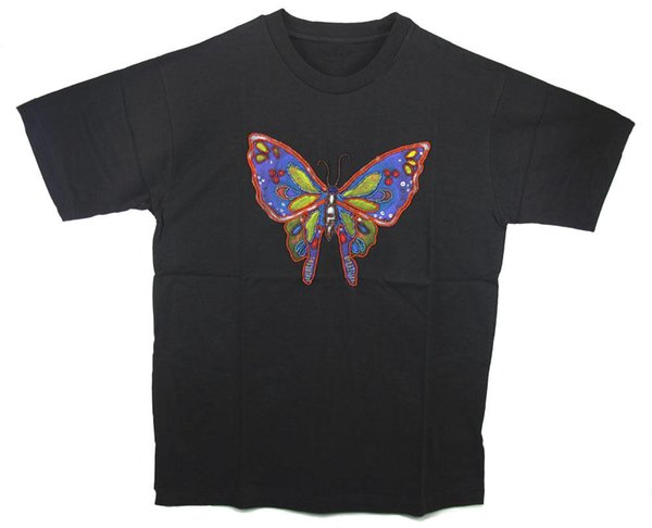 HAND BEADED & PAINTED BUTTERFLY BLACK T-SHIRT - XL Rambo Looking For Troubles Licensed Adult T Shirt Custom t shirt logo