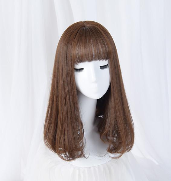 Senin Stil Sentetik Uzun Düz Patlama Ile Doğal Saç Peruk Womens Afro-amerikan Saç Kahverengi Sarışın Gri Renk