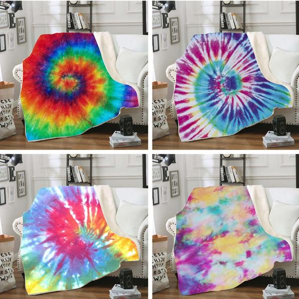 top popular 3D Digital Print Throw Blanket Fashion Winter Warm Baby Blanket Swaddling Bedding Quilt Nap Blankets Rainbow Travel Swaddle TTA1666 2021