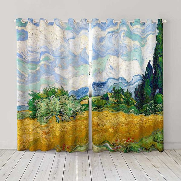 Personality Custom curtain world famous painting Wheat Field with Cypresses drapes Extra wide Blackout curtain party decoration background