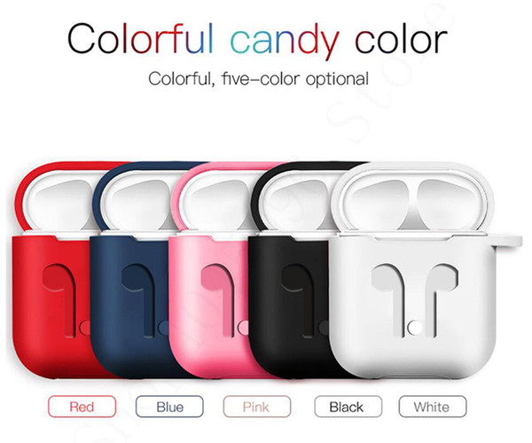 For Apple Airpods Silicone Case Protector Cover Sleeve Pouch with Anti Lost Rope for Air Pods Bluetooth Headphones Earphones Case