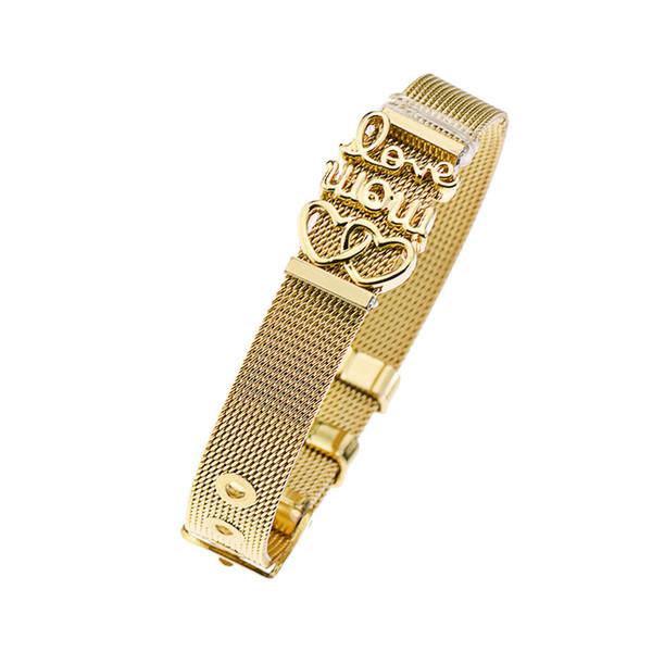 New luxury fashion simple family love letter stainless steel mesh strap ladies bracelet charm DIY bracelet jewelry wholesale