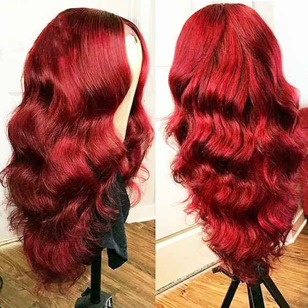 Burgundy Long Body Wavy Lace Front Wig for Women High Density Synthetic Wig Heat Resistant Fiber Front Lace Wig Middle Part 22 Inches