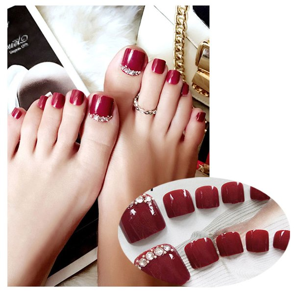 24 Pcs/Set Fake Nails Feet Short Square False Nail Patch Sequined Jewelry Sticker Cute Wear Toe Nail Art Tool With Glue 8 Style