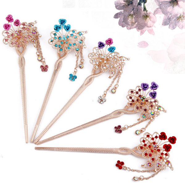 Classic Vintage Fringed Butterfly Headdress Rose Flower Hairpin Fashion Fresh Steps Shake Dice Hair Accessories