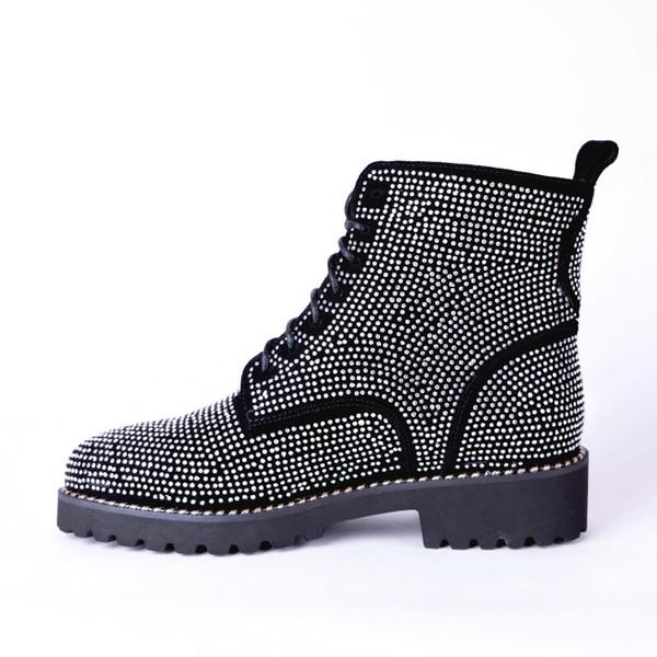 ladies 2019 fashion new design ankle boots flat round toe nubuck leather shining Rhinestone cow split meduim black lace up shoes F8009