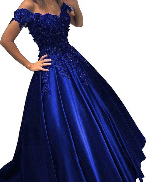 Royal Blue Barato Vestido de fiesta Vestido de fiesta Fuera del hombro Encaje Flores 3D Con cuentas Corsé Volver Satén Vestido de noche Vestidos formales Nuevo