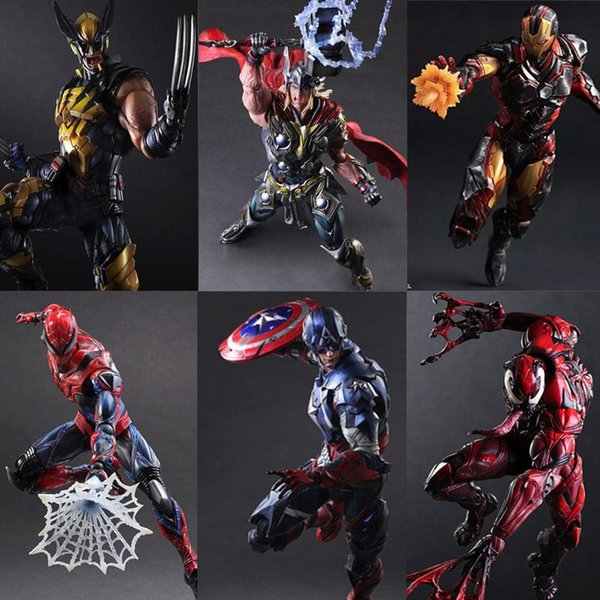 Играть искусство Кай Железный Человек Человек-паук Яд Капитан Америка Дэдпул ПА Кай 27СМ ПВХ фигурку куклы игрушки дети подарок Brinquedos
