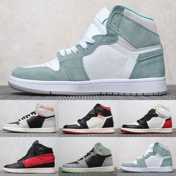 2019 Jumpman 1 1s High Turbo Green Retro Shoes Men Women Sail-White Not for Resale Varsity High SoleFly Art Basel Sail Boots shoes