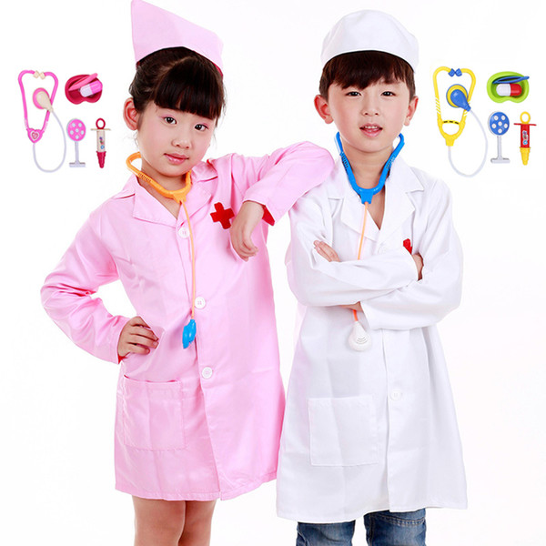 Kids Baby Doctor Surgeon Operation Uniform Halloween Cosplay Party Costume 2-14Y