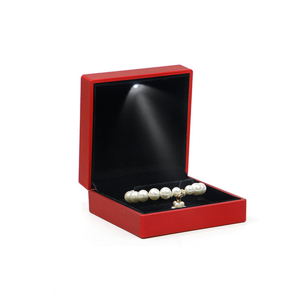 4pcs/set Luxury Jewelry Necklace Earring Ring Box Case Holder Gift with LED Light Wedding Engagement Ring Jewelry Display