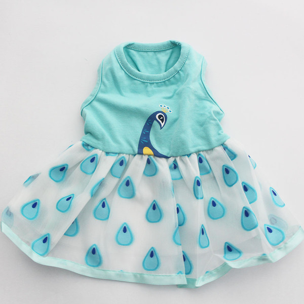 Dog Pet Dress Tutu Shirt Peacock Design Cat Puppy Skirt Princess Spring/Summer Clothes 5 Sizes