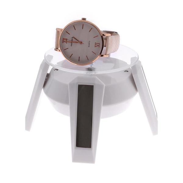 New Solar Power 360 Degree Rotating Turntable Display Stand For Glasses Phone Beads Bracelet Watch Holder Rack LED Light