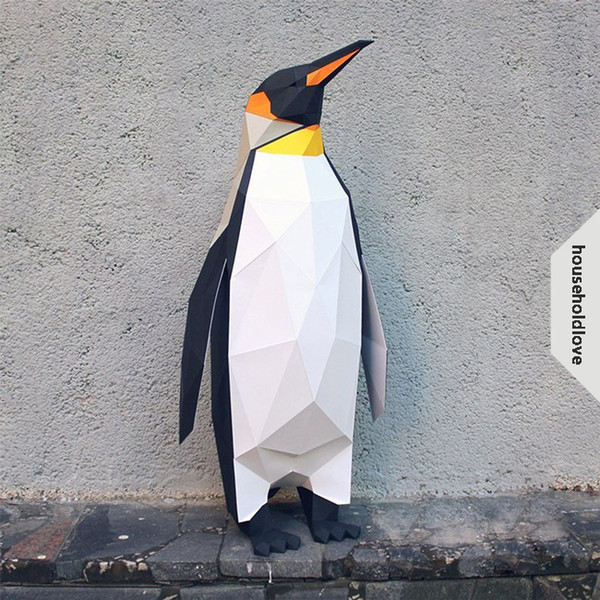 Geometry 3D stereo diy paper art penguin floor decoration desktop animal home decoration ideas photography props Decorative souvenir gifts