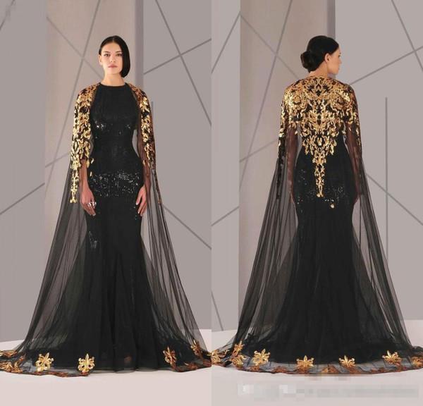 2020 formale Abend-Kleider Meerjungfrau mit Cape Umhang und Gold SpitzeApplique Plus Size Schwarz Pailletten Tüll vestidos de novia Abendkleid