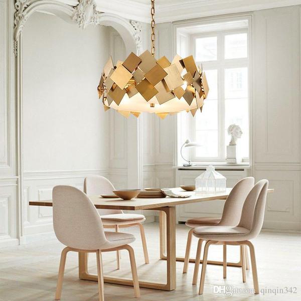 Nordic Modern Lustre Luminarie Led E14 Lámpara colgante de acero giratoria Lámpara colgante Cadena Gold Poker Lámpara de suspensión Led