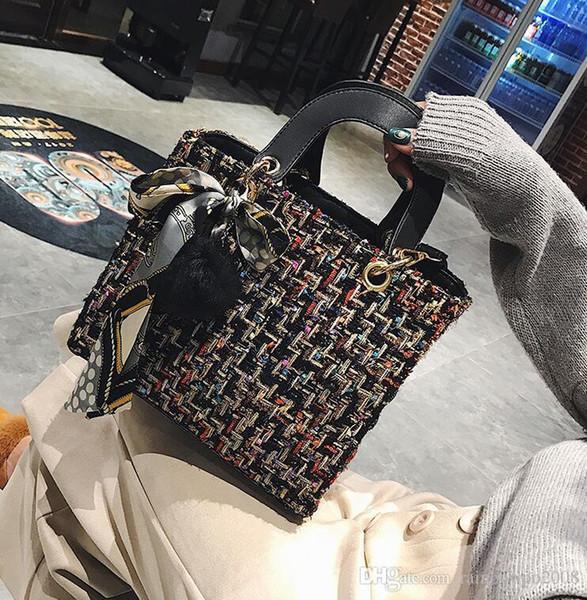 Usine en gros de marque de mode sac à main nouvel hiver couleur femme laine Diana paquet coréen petit sac de laine de soie véritable sac à main femme