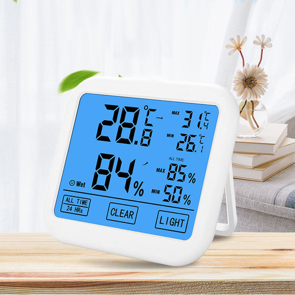 2019 New Digital Large Touch Screen Thermometer Hygrometer Temperature Humidity Memory on-screen Display Backlight Thermometers