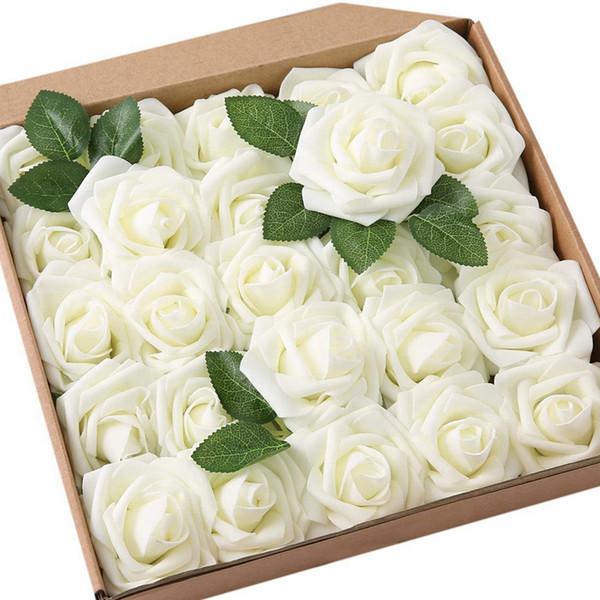 DIY Düğün Buketler Centerpieces Gelin Duş Bölüm için Güller Yapay Çiçekler-25 Adet Büyük PE Köpük Gül Yapay Çiçek Başkanı