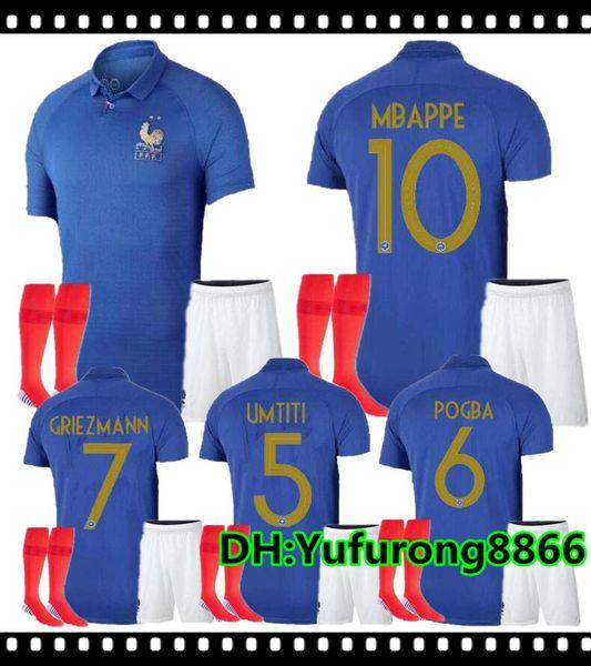 1919 2019 Special Edition Kit Centenário + meias de futebol Jersey francês PAYET POGBA GRIEZMANN KANTE MATUIDI Mbappé COMAN Camisa de futebol desgaste