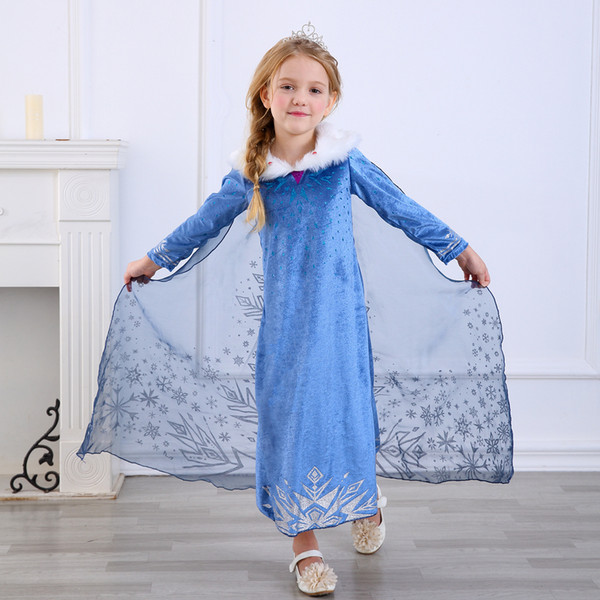 top popular 2020 New  Princess Dress Winter Girls Dresses Cosplay Clothes Kids Party Custumes Halloween New Year Gift 3-11 Years Children Clothing 2021