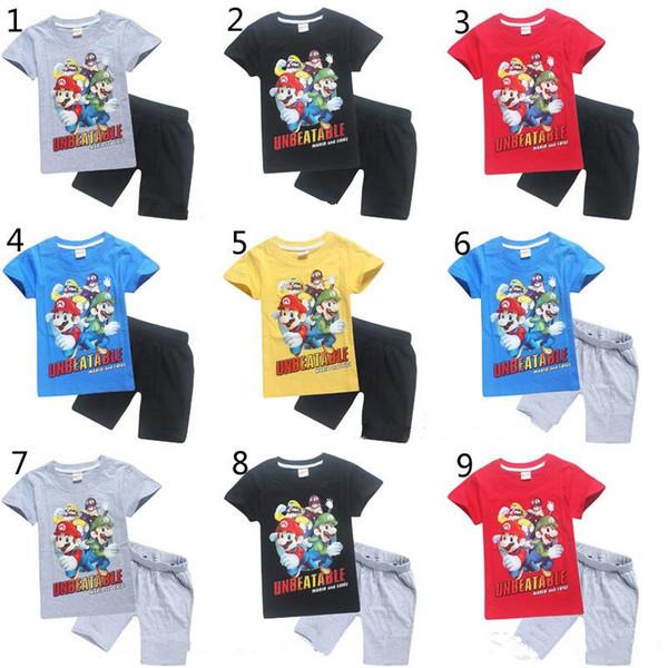 Acheter Vêtements De Marque Pour Enfants Super Mario Bros Costume 2019 Nouveaux Enfants Jeu De Dessin Animé T Shirt à Manches Courtes Shorts
